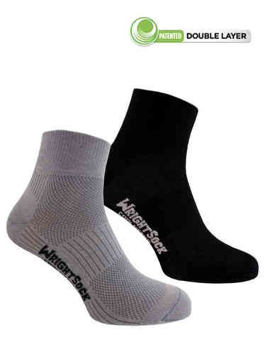 Wrightsock Coolmesh-II Quarter 2-Pack (Black/ Light Grey)