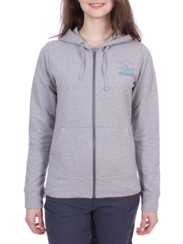 Patagonia Dames Midweight Phone Home Sweatshirt (Mountain Sea Doodle: Feather Grey)