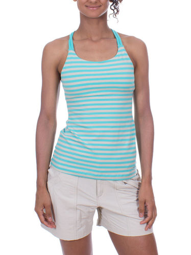Patagonia W's Cross Back Tank (Vista Stripe: Howling Turquoise)