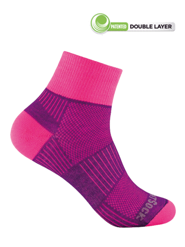 Wrightsock Coolmesh-II Quarter (Plum/Pink)