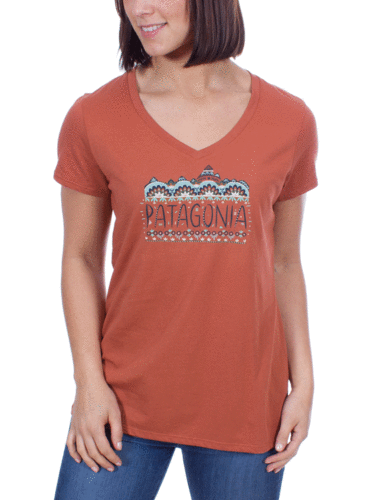 Patagonia Dames Femme Fitz Roy Cotton V-Neck T-Shirt (Canyon Brown)