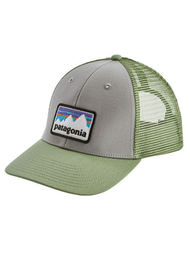 Patagonia Shop Sticker Patch LoPro Trucker Hat (Drifter Grey w/Matcha Green)