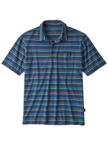Patagonia Heren Organic Cotton LW Polo (Pacific Stripe: Stone Blue)