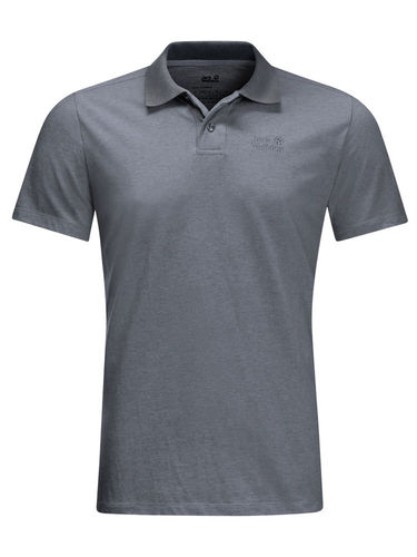 Jack Wolfskin Heren Pique Polo (Pebble Grey)
