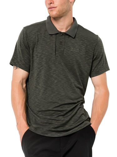 Jack Wolfskin Heren Travel Polo (Dark Moss)