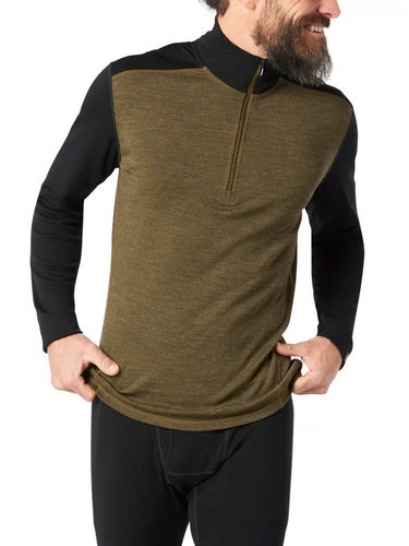 Smartwool Heren Merino 250 Baselayer 1/4 Zip (Military Olive Heather/ Black)